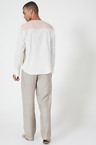 Grey Linen Pants With Side Pockets by Wendell Rodricks Men
