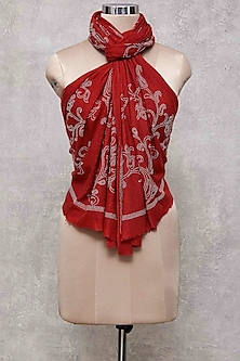Red & Silver Swarovski Embroidered Shawl by Wrapture by Suzanne