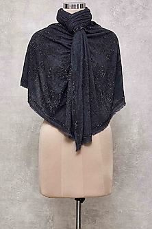 Black Swarovski Knitted Embroidered Shawl by Wrapture by Suzanne