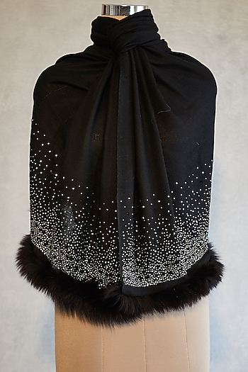 Black Swarovski Embroidered Shawl With Faux Fur by Wrapture by Suzanne