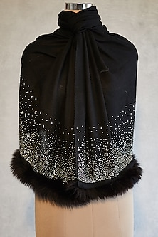 Black Embroidered Shawl With Faux Fur by Wrapture by Suzanne