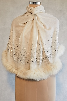 Cream Swarovski Embroidered Shawl With Faux Fur by Wrapture by Suzanne