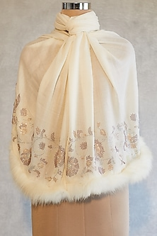 Cream Floral Embroidered Shawl With Faux Fur by Wrapture by Suzanne