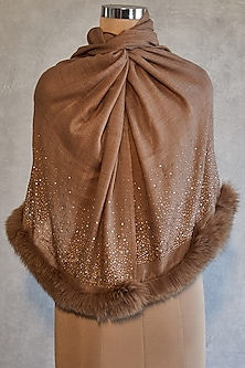 Brown Embroidered Shawl With Faux Fur by Wrapture by Suzanne