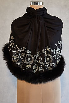 Black Floral Embroidered Shawl With Faux Fur by Wrapture by Suzanne