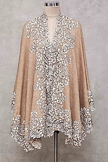 Beige Knitted Cape With Lace Border by Wrapture by Suzanne