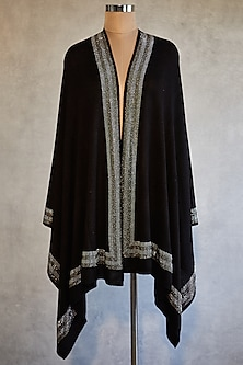 Black Swarovski Knitted & Crystal Embroidered Shawl by Wrapture by Suzanne