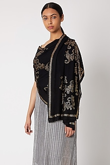 Black Knitted & Swarovski Crystal Embroidered Shawl by Wrapture by Suzanne