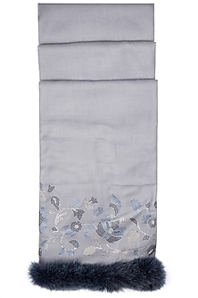 Sky Blue Swarovski Crystal Embroidered Shawl With Faux Fur by Wrapture by Suzanne