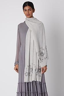 Grey Swarovski Embroidered Shawl by Wrapture by Suzanne