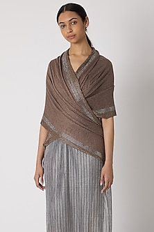 Rust Brown Knitted & Swarovski Embroidered Shawl by Wrapture by Suzanne