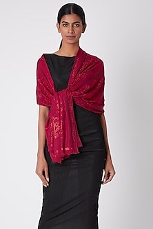 Crimson Red Knitted & Swarovski Embroidered Shawl by Wrapture by Suzanne