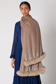 Beige Swarovski Embroidered Shawl With Faux Fur by Wrapture by Suzanne