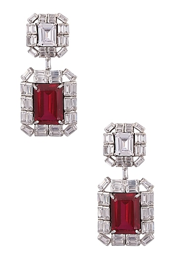 Rhodium Finish Ruby Stone and Swarovski Square Earrings by Born 2 Flaaunt