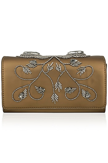 Gold Floral Beaded Flapover Clutch by Born 2 Flaaunt