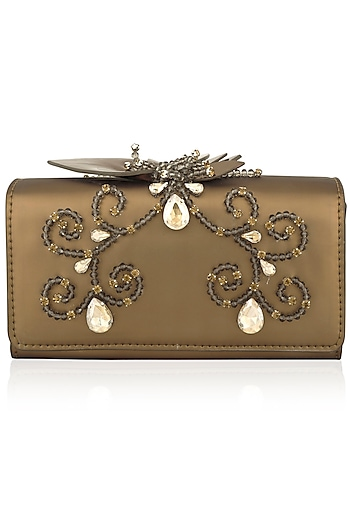 Gold Floral Embellished Flapover Clutch by Born 2 Flaaunt