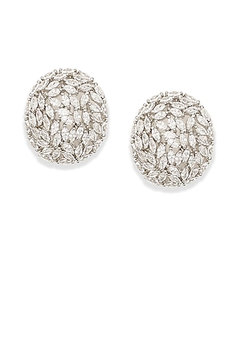 Silver plated white swarovski shell shaped earrings by Born 2 Flaaunt