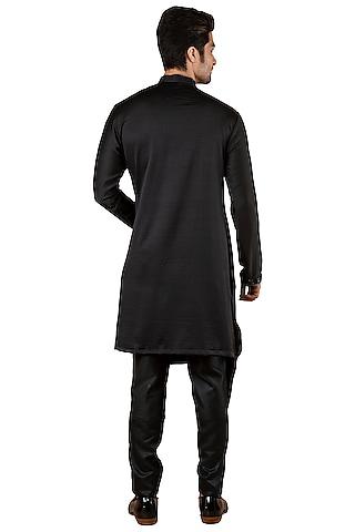 Black Silk Asymmetric Flap Kurta by YAJY By Aditya Jain