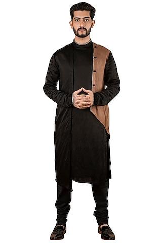 Black Kurta With Attached Jacket by YAJY By Aditya Jain