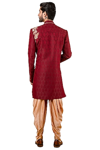 Red Sherwani With Embroidered Collar by YAJY By Aditya Jain