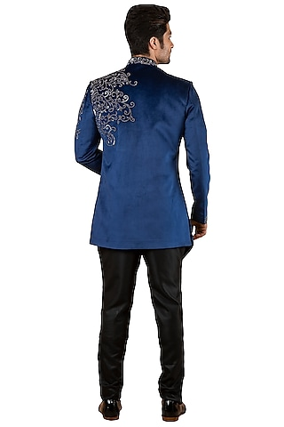 Blue Embroidered Asymmetric Sherwani by YAJY By Aditya Jain