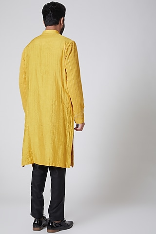 Yellow Embroidered Kurta by Yajy