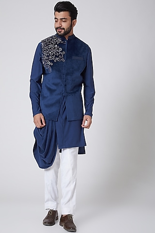 Midnight Blue Asymmetric Draped Kurta With Suede Jacket by Yajy