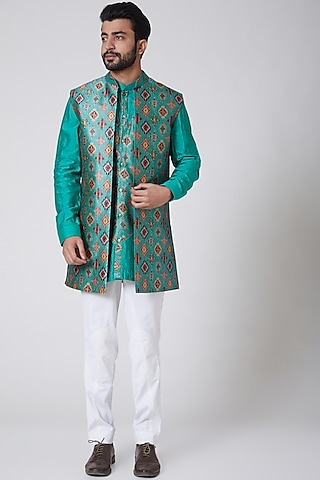 Turquoise Printed Kurta With Jacket by Yajy
