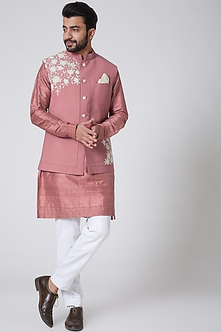 Blush Pink Silk Kurta With Embroidered Jacket by Yajy