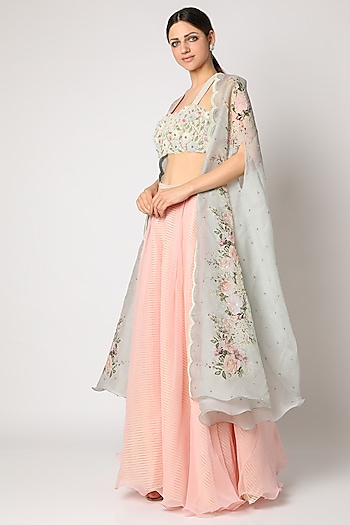 Blush Pink Embroidered Palazzo Pant Set With Cape by Yashodhara