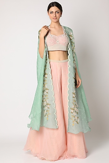 Baby Pink Embroidered Palazzo Pant Set With Cape by Yashodhara