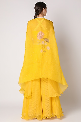 Yellow Embroidered Palazzo Pant Set With Cape by Yashodhara