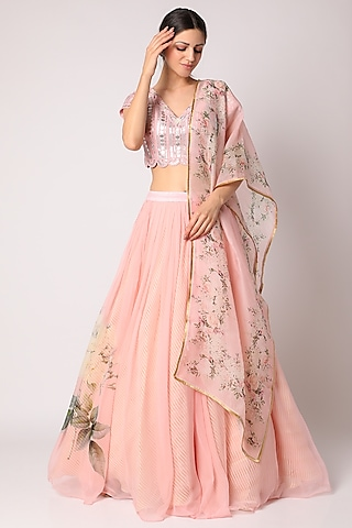 Baby Pink Embroidered Skirt Set by Yashodhara