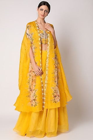 Yellow Embroidered Palazzo Pant Set by Yashodhara