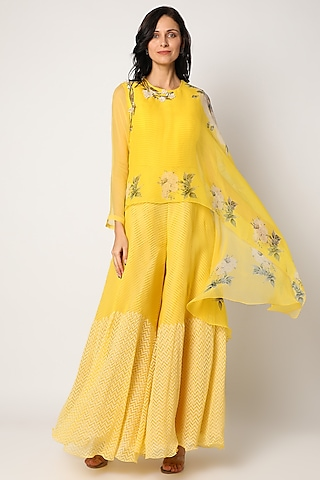 Yellow Block Printed Jumpsuit With Cape by Yashodhara