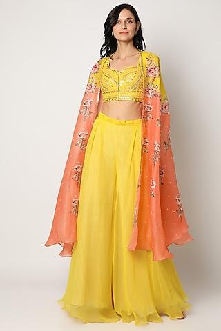 Yellow Raw Silk Palazzo Pant Set by Yashodhara