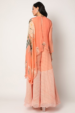 Peach Block Printed Jumpsuit With Cape by Yashodhara