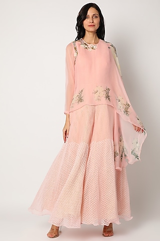 Magnolia Pink Printed Jumpsuit With Cape by Yashodhara