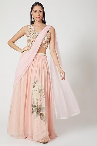 Blush Pink Printed & Embellished Lehenga Set by Yashodhara