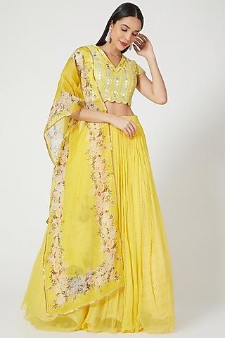 Yellow Lehenga Set With Printed Dupatta by Yashodhara