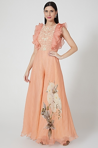 Peach Printed & Embroidered Jumpsuit by Yashodhara