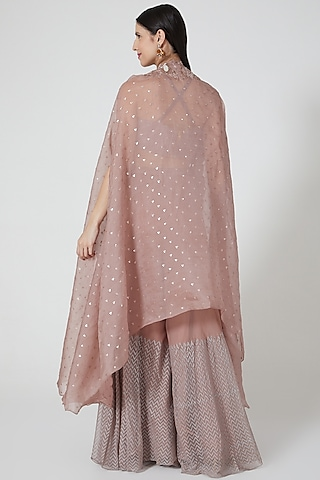 Rose Gold Embroidered Cape Set by Yashodhara