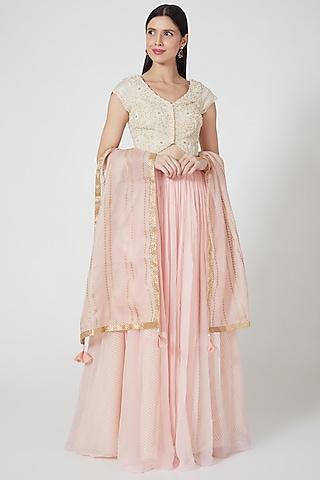 Blush Pink Organza Lehenga Set by Yashodhara