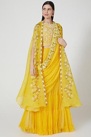 Yellow Printed Lehenga Set by Yashodhara