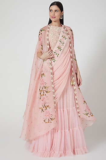 Blush Pink Printed Lehenga Set by Yashodhara