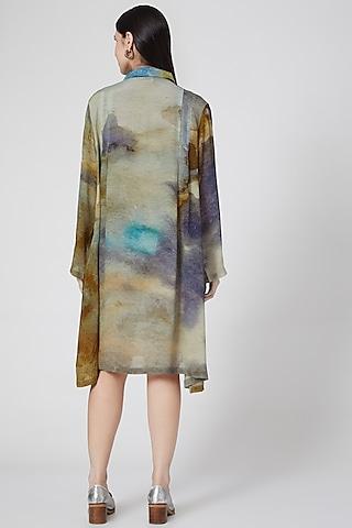 Brown Digital Printed Dress by YAVI