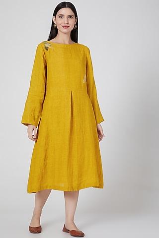 Mustard Embroidered Dress by YAVI