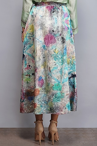 Cobalt Blue Digital Printed Skirt by Yavi