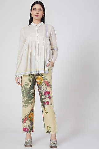 Yellow Digital Printed Pants by YAVI