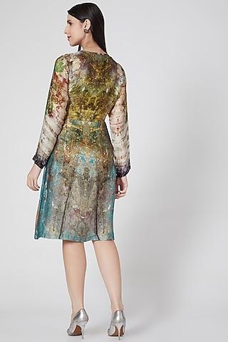Mustard Digital Printed Wrap Dress by YAVI